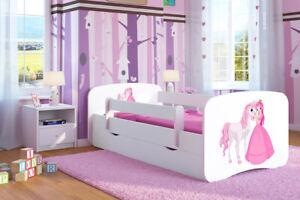 Kinderbett Juniorbett 180x80 Weiß Madchen und Junge mit Lattenrost und Schublade