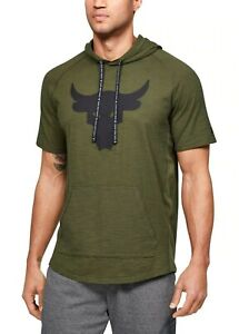 Under Armour Mens Project Rock Charged Cotton Short Sleeve Hoodie NEW, ALL SIZES