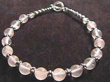 "Rose Quartz & Sterling Silver Bali Bead Bracelet 8.5""  925 SS"