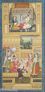 Harem Indian Mughal Miniature Painting King India Classical Vintage Ethnic Art