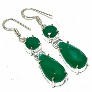 "Emerald Gemstone Handmade Ethnic Jewelry Earring 2.0"" ERJ2364"