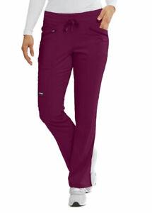 Grey's Anatomy #529 Elastic/Draw Waist Cargo Scrub Pant in Wine Size 2XL