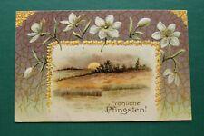 Präge Litho AK Fröhliche Pfingsten 1905-1915 Landschaft Sonnenuntergang Blumen
