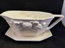 vintage Himark ivory ceramic Gravy boat with tray plate