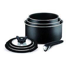 Tefal Ingenio Essential Non Stick 7pc Saucepan Pan Set Kitchen Cookware Black