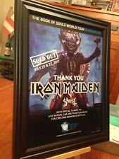 "BIG 10x13 FRAMED IRON MAIDEN ""LIVE IN BROOKLYN 2017 - SOLD OUT"" TOUR PROMO AD"