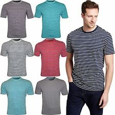 Cotton Short Sleeve Striped Crew Neck Men's Casual Shirts & Tops