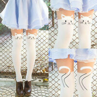 Womens Sexy White Cat Tattoo Socks Sheer Pantyhose Mock Stockings Tights Hot