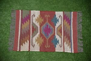 Indien Area Rugs Flat Weave Hand-woven Floor Carpet Oriental Area Throw 2x3-39
