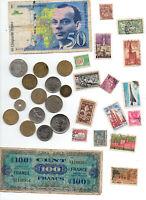 50 frs Saint Exupery + billet liberation + 15 pieces + 15 timbres