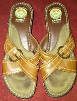 "Gelron 2000 Earth Spirit Criss Cross Brown Leather Sandals 2"" Heels Size 8"