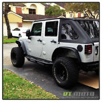 4PCS 2007-2017 Jeep Wrangler Textured Steel Flat Style Fender Flares Left+Right