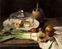 Stunning oil painting Still Life with leeks cheese and apples free shipping