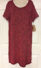 Womens sweater dress size XL Route 66 red metallic thread short sleeves new 124