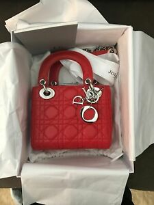Dior Mini (small) Lady bag in lambskin with chain strap