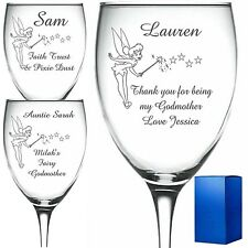 Personalised Engraved Wine Glass Fairy Godmother christening gift tinkerbell