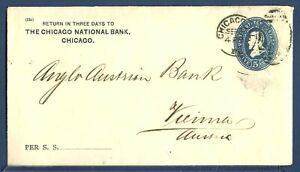 US Stamped Envelope U330 Grant 5¢ Blue Chicago, Illinois to Vienna, Austria 1889