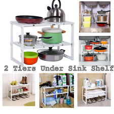 2 Tier Expandable Under Sink Shelf Organizer Rack Storage Kitchen Tool Holders
