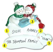 Personalized Snowman Family of 3 Couple w/ Baby Christmas Ornament