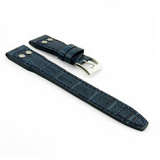 DASSARI Aviator Blue Crocodile Embossed Leather Band Watch Strap IWC Big Pilot