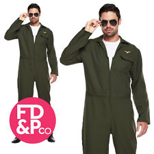 Fancy Dress Adult Aviator Costume Military Fighter Pilot 80s Air Force Jump Suit