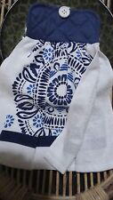 Mandala Style Double Thickness Hanging Towel Potholder Top Blues & White