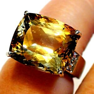 FLAWLESS! BIG 18.70ct 100% NATURAL UNTREATED IMPERIAL TOPAZ RING 925 S-VER.6.25