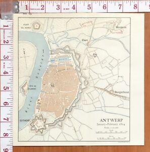 MAP/BATTLE PLAN ANTWERP JAN-FEB 1814 CITADEL DAM ARSENAL BATTERIES MERXEM
