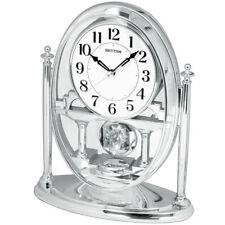 NEU Tischuhr Drehpendel Pendeluhr silber Kamin Tisch Schreibtischuhr analog