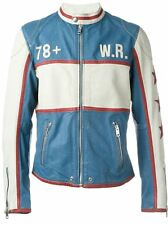 NWT Diesel L-RACING Mens Goatskin LEATHER Vintage Moto BLUE Jacket M Medium $999