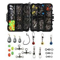 Fishing Accessories Kit 160PCS Sinker Swivel Jig Hooks Bead Fish Terminal Tackle