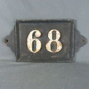 Old Large & Heavy French House Number 68 Door Wall Plate Plaque Cast Iron Sign