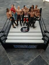 WWE / WWF Wrestling Figure Bundle With Spring Wrestlemania Ring - Good Condition