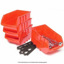 4 Large Stackable Plastic Storage Bins Container Organizer Parts Tray Wall Mount