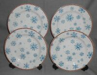 Set (4) Sakura Stoneware SNOWFLAKE PATTERN Salad/Dessert Plates DEBBIE MUMM