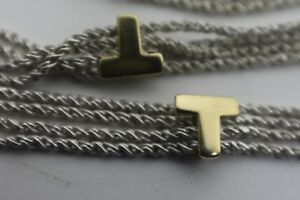 """Tiffany & Co Gold Initial 'T' 4 Strand Sterling Silver Necklace 16.5"""" Italy RARE"""