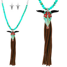 Beaded longhorn rose west COW SKULL WESTERN TURQUOISE SOUTHWEST JEWELRY INDIAN