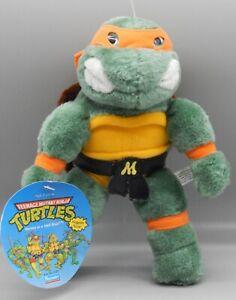 1990 Playmates TMNT plush Teenage Mutant Ninja Turtles MICHAELANGELO figure +TAG