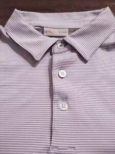KJUS Men's Polo Style Polyester/Elastine Size 50 Medium BLUE STRIPED S/S Shirt