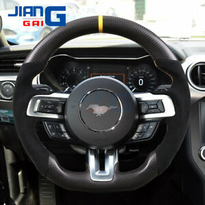 Matte Black Carbon Fiber Steering Wheel Fit in 2015+ Mustang shelby GT