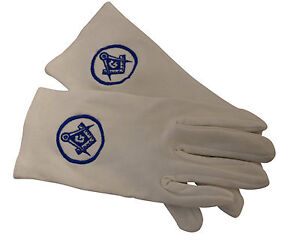 Masonic white gloves  with  square and compass with Letter G
