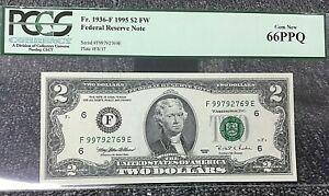 1995 $2 ATLANTA FRN (FE BLOCK) 1936-F PCGS 66PPQ GEM NEW with  .99c START