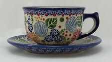 Bunzlauer céramique tasse avec soucoupe (f036-koku), s i g n i e r t - 0,3 litres