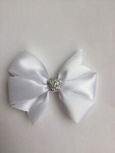 """Wedding Flower Girls Christening 3.5"""" Girls White Hair Bow Clip Sparkly Heart"""