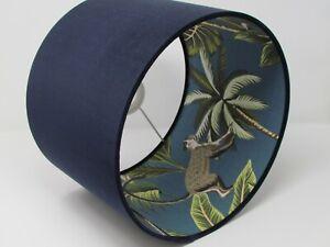 Lampshade Navy Blue Velvet Monkey Palm Tree Leaves Drum Light Shade