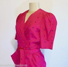 LIZ CLAIBORNE WOMEN'S 4 FUCHSIA/PINK DRESS MULTI-COLOR CIRCLES POCKETS TIE BELT