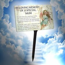 Mum Memorial Plaque & Stake. Waterproof, In Loving Memory Angel. for garden etc