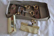 Serrure porte droite tiroir meuble Acier bronzé  clef laiton Quincaillerie 1970