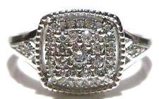 DESIGNER 10K WHITE GOLD & .45CT WHITE DIAMOND WOMENS RING BAND SIZE 7.25