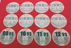 12 X Months 1993 Year Old Car DVLA  Original Tax Disc Discs Birthday Gift LVLO